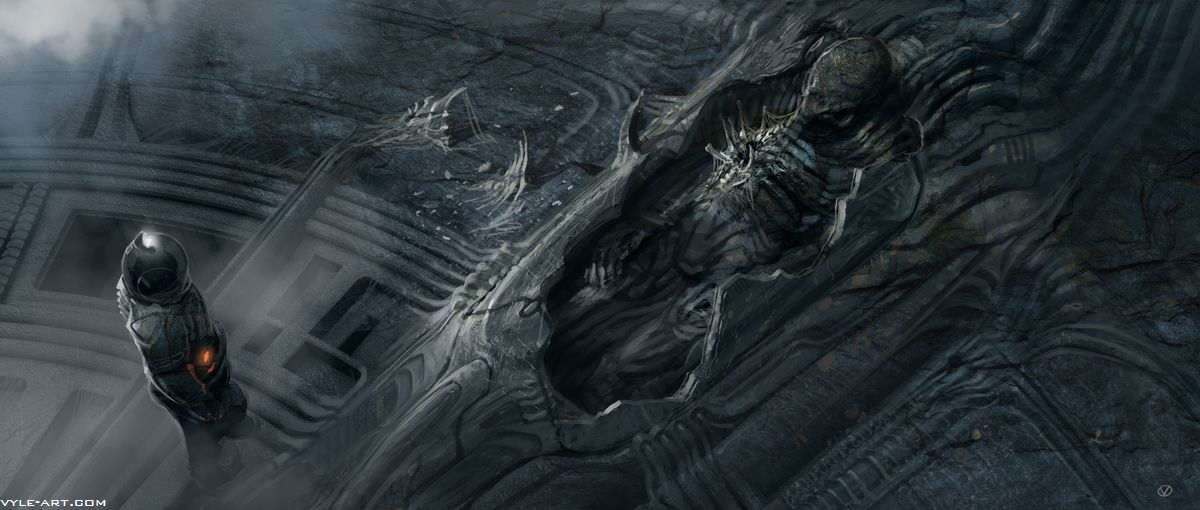 Strange shapes in cyberspace no one can hear you scream for Prometheus xenomorph mural